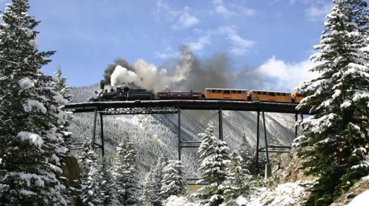 Dampflok auf der Devil's Gate High Bridge; © Dan Adler / Historic Rail Adventures